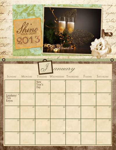 2013 The Artful Crafter Calendar Jan