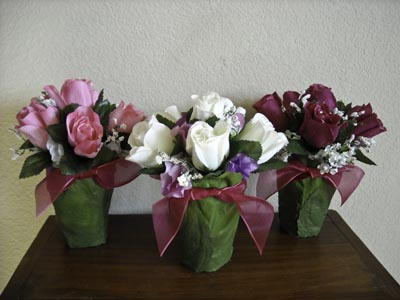 Triple Vase Roses Centerpiece