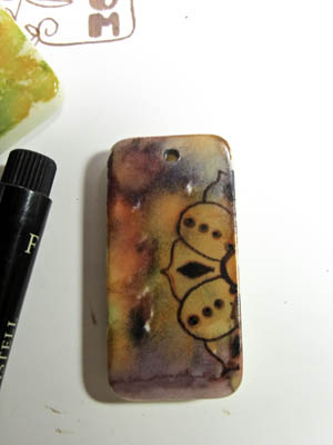 Alcohol Ink Stamped Pendant