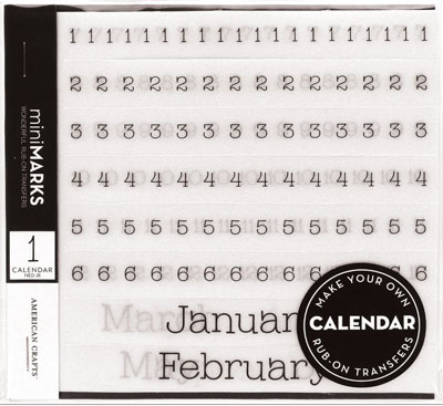 American Crafts MiniMarks Calendar Rub-on Transfer Book