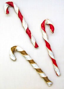 Bread Dough Candy Cane Ornaments