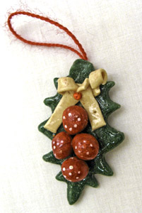 Bread Dough Holly Leaf Ornament