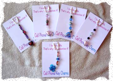 Beaded Key Rings or Cell Phone Charms