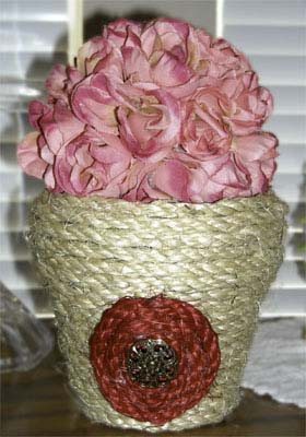 Jute Decorated Flower Pot