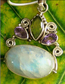 Moonstone and amethyst pendant necklace, 'Aura'