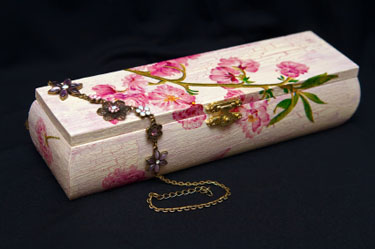 pink decoupage box